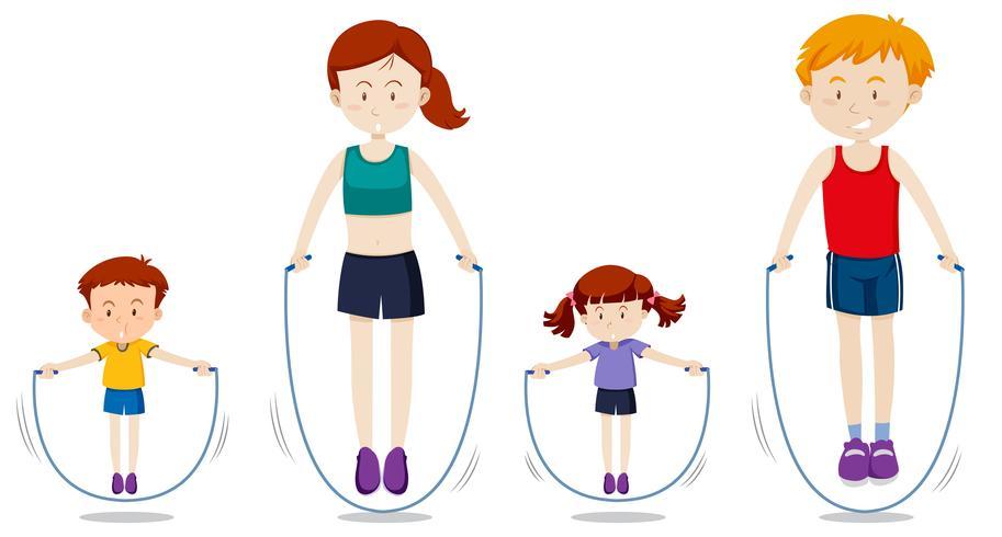Een gezin touw springen