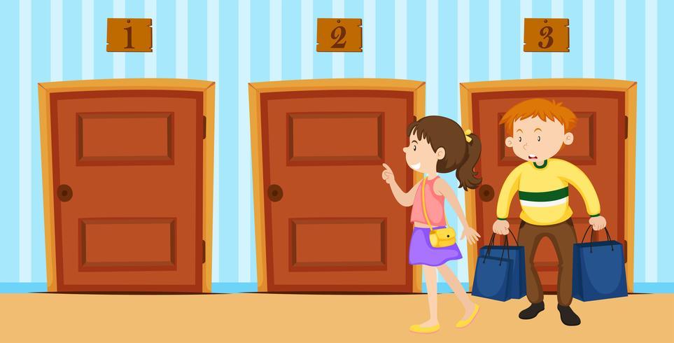 Par, escolher, porta, sala