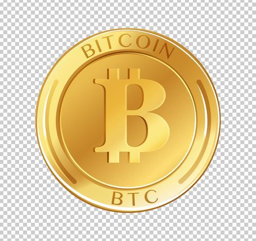 Bitcoin-Münze auf transparentem Hintergrund
