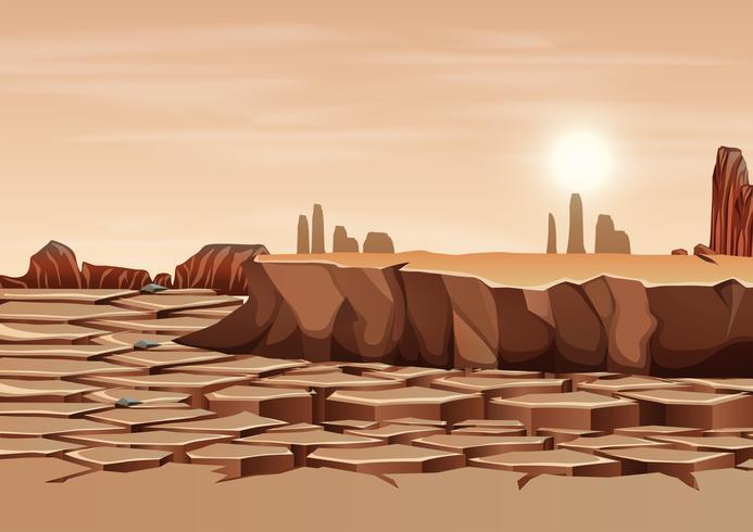 Uma paisagem de terra seca vetor