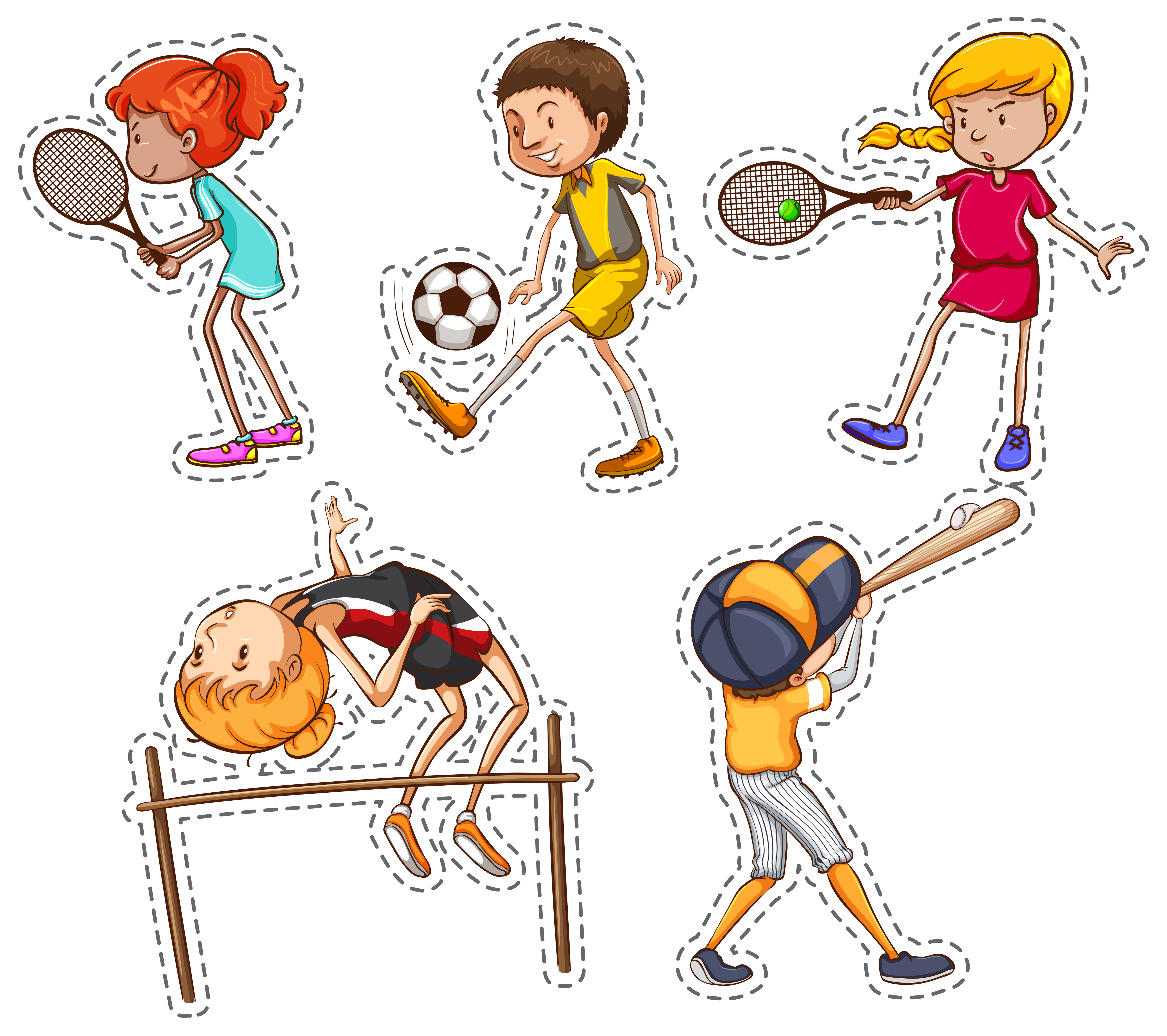 sports different kinds doing vector illustration soccer ball players clipart vectors football freepik person kind colours system non save psd