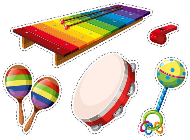Conjunto de pegatinas de instrumentos musicales.