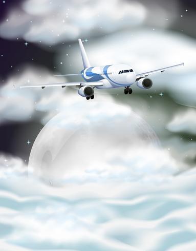 Vliegtuig die bij nacht vliegen vector