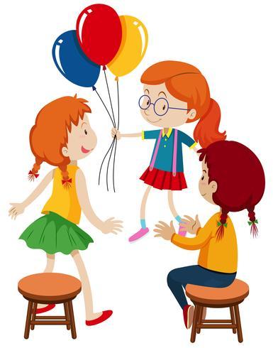 Três meninas e balões