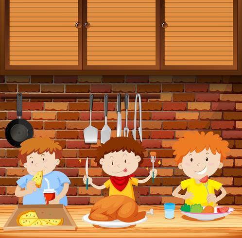 Barn äter en måltid togther
