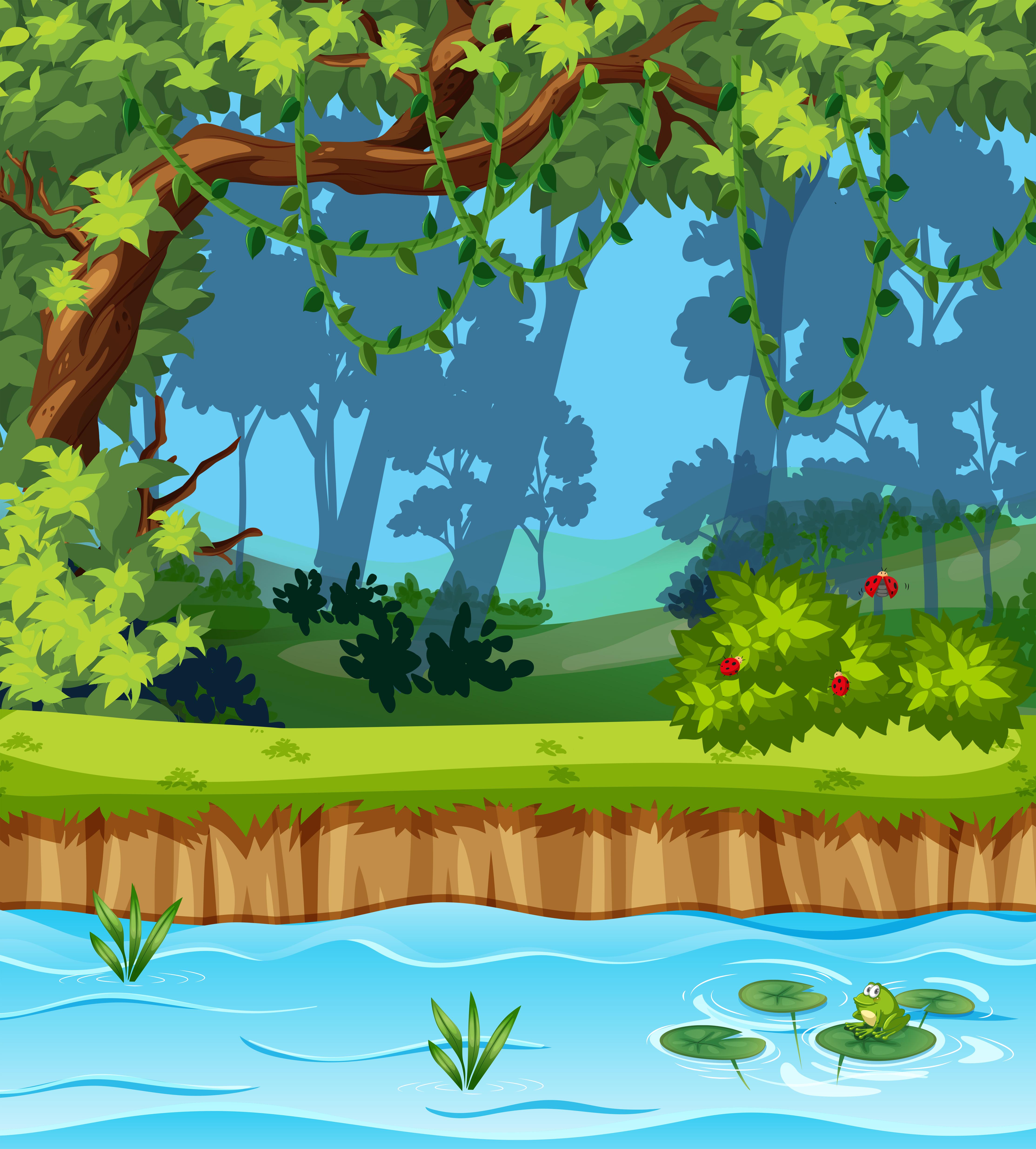 A Beautiful Jungle Landscape Download Free Vectors