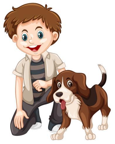 Un garçon et un chien