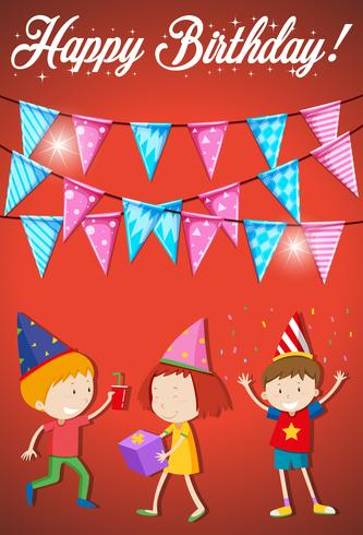 Happy birthday card with young kids