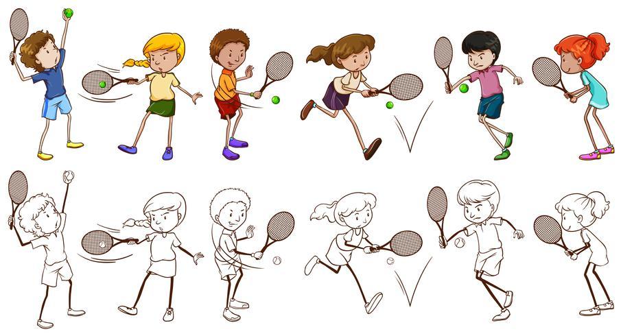 Homens e mulheres jogadores de tênis
