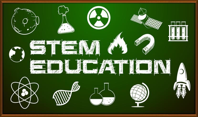STEM-onderwijsaffiche met pictogrammen aan boord