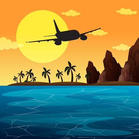 Scena di sfondo con l'aeroplano che sorvola l'oceano
