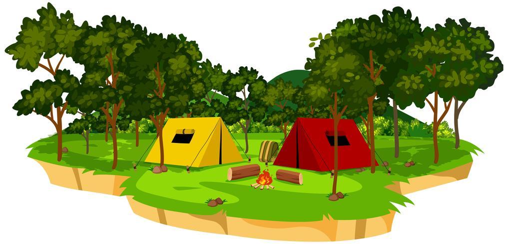 An isolated campsite scene vector