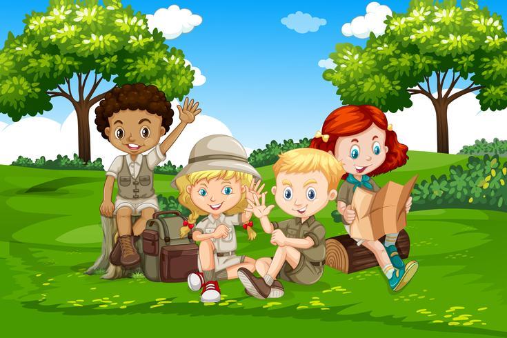 Camping international des enfants dans la nature vecteur
