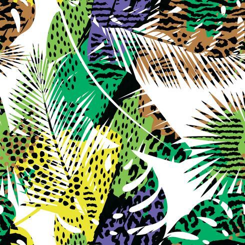 Na moda sem costura padrão exótico com palm e animal prins