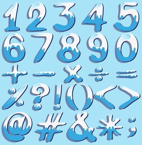 Números y símbolos de colores.