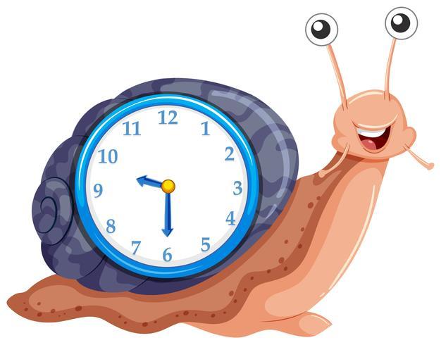 Reloj con plantilla de caracol.