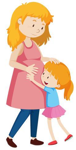 Una madre embarazada y su hija