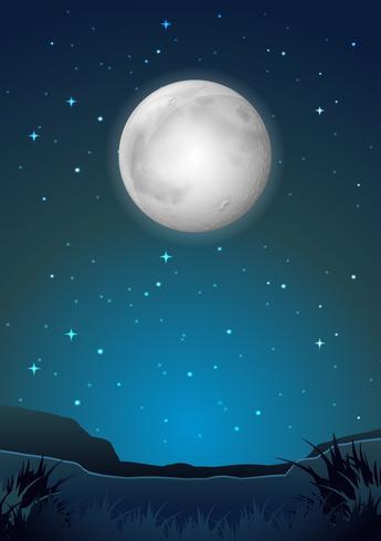 Escena del paisaje de la noche oscura