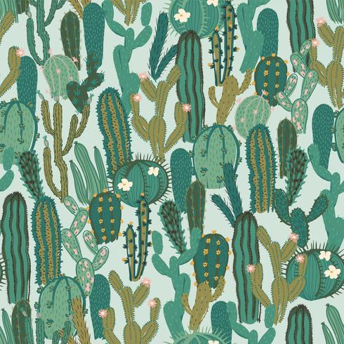 Modèle sans couture de vecteur avec cactus. Texture répétée avec des cactus verts.