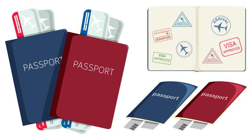 Set of passports and boarding pass