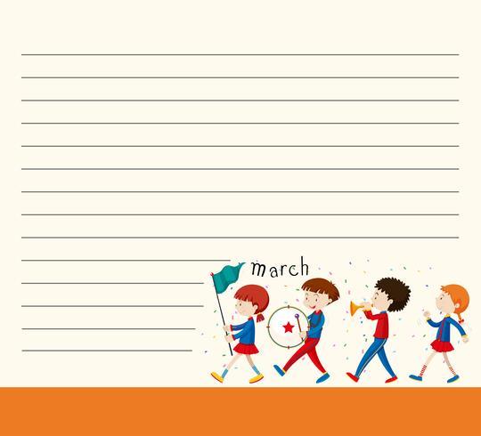 Plantilla de línea de papel con niños en banda escolar.