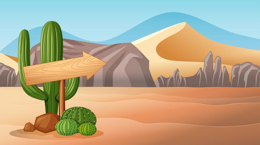 Scène de désert avec panneau en bois vecteur