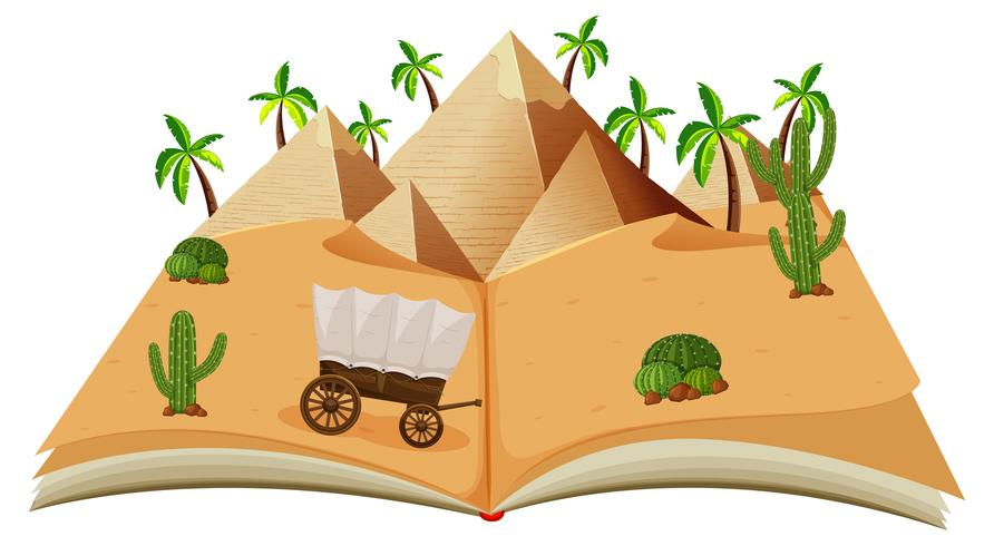 A pop up book desert scene