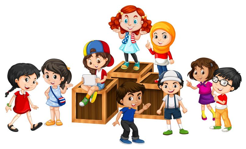 Many happy children on the wooden boxes