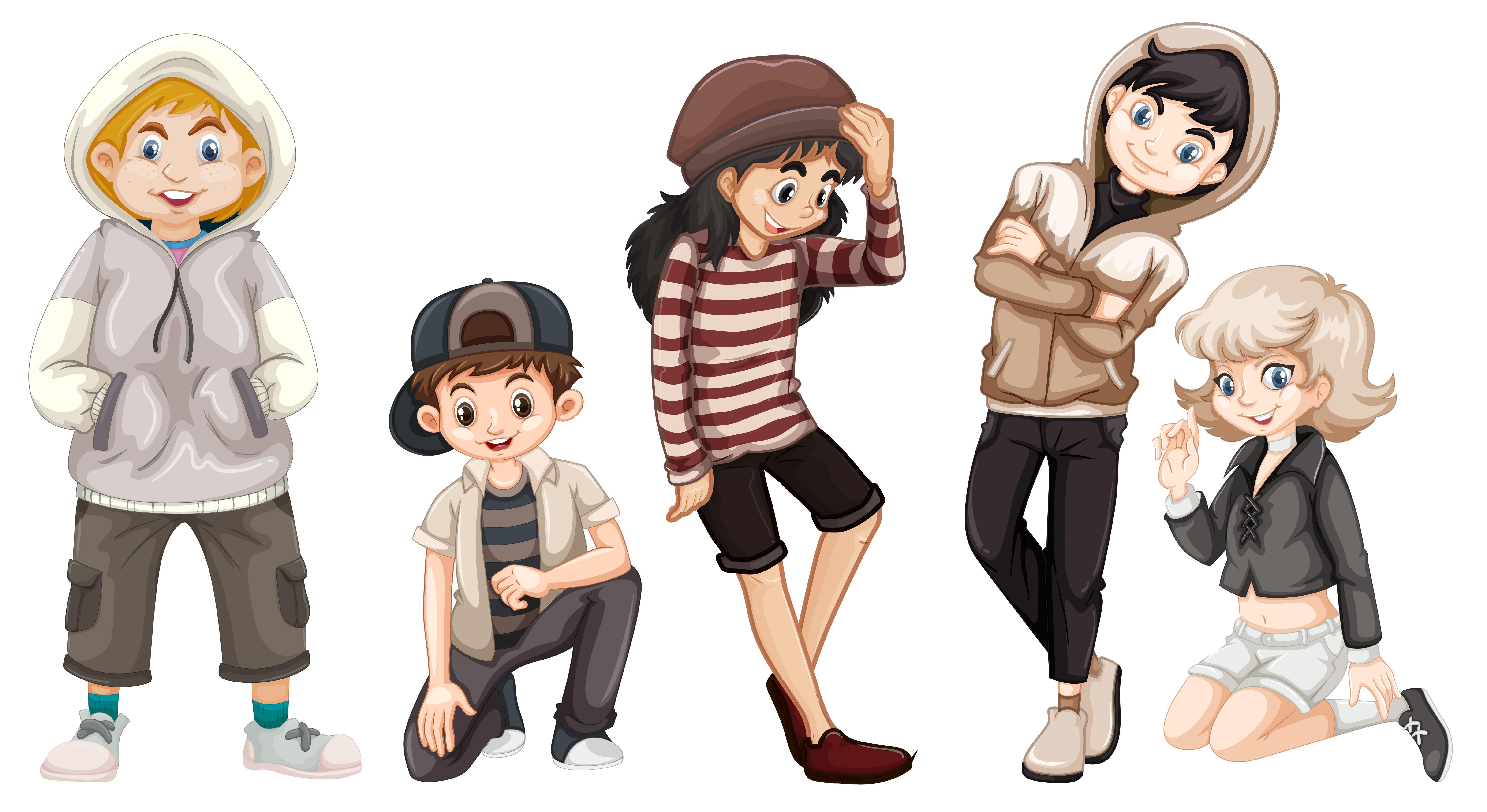 Group Of Happy Teenagers Download Free Vector Art Stock