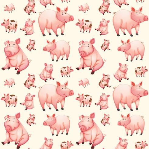 Patrón sin costuras de cerdo rosa