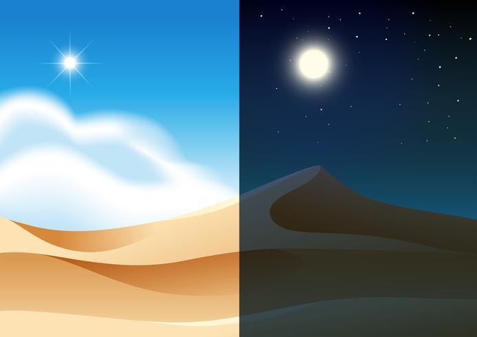 Un paisaje desértico día y noche.