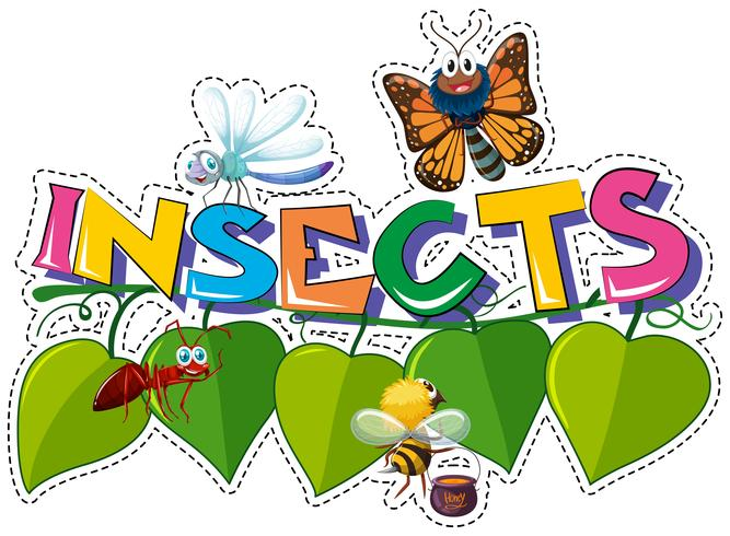 Design adesivo per insetti parola con molti bug