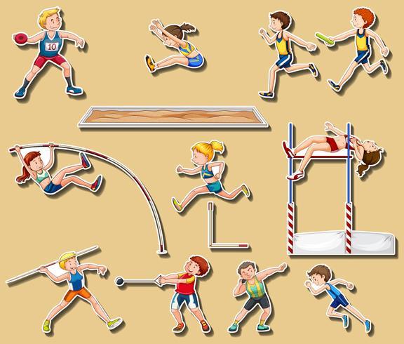 Diseño de pegatinas para deportes de pista y campo.