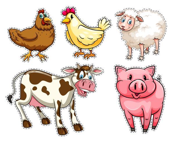 Juego de pegatinas con animales de granja.