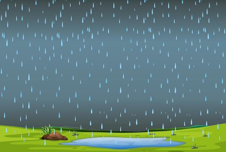 falling rain over simple landscape - Download Free Vector Art, Stock Graphics & Images