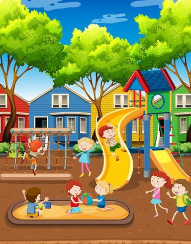 Crianças, tocando, ligado, pátio recreio