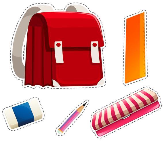 Aufklebersatz Schulmaterial