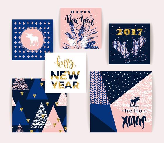 Satz künstlerische kreative Karten der frohen Weihnachten und des neuen Jahres.