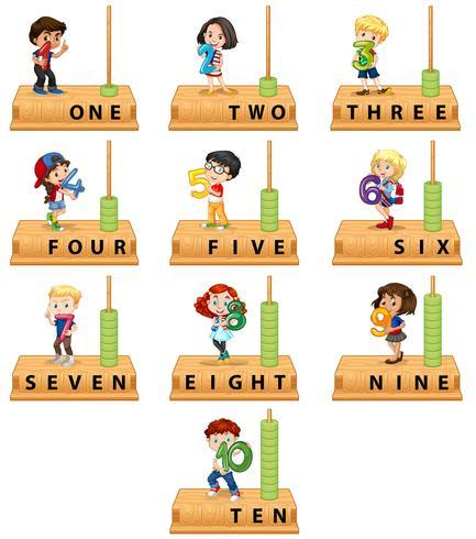 Conjunto de caracteres del número del ábaco