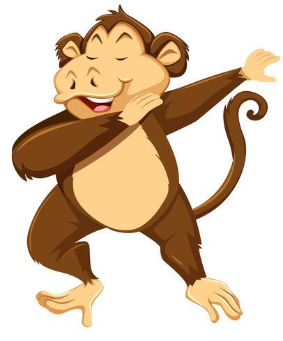Un mono dab sobre fondo blanco