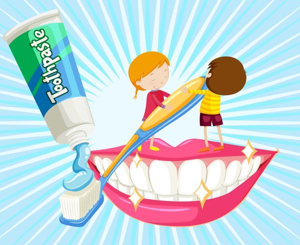 Niño y niña cepillarse los dientes