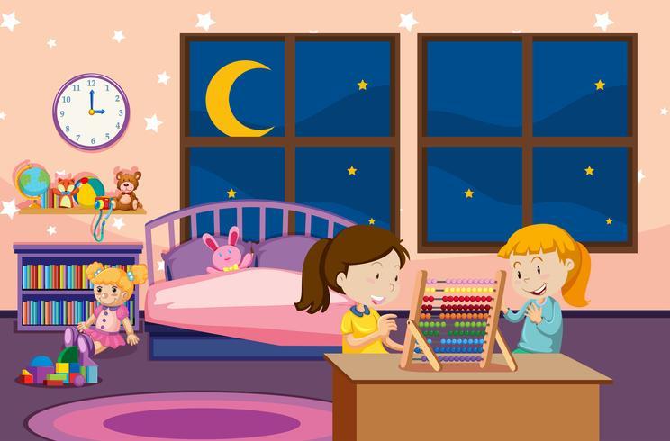 Mädchen, die Abakus im Schlafzimmer lernen