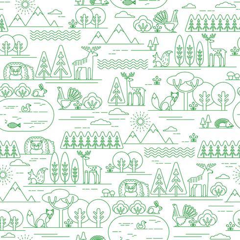 Modelo inconsútil del vector con la flora y la fauna del bosque.