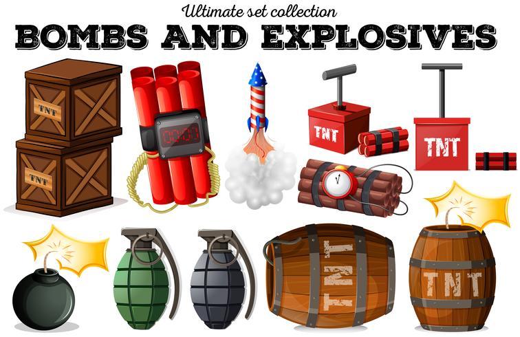 Bombas y objetos explosivos. vector