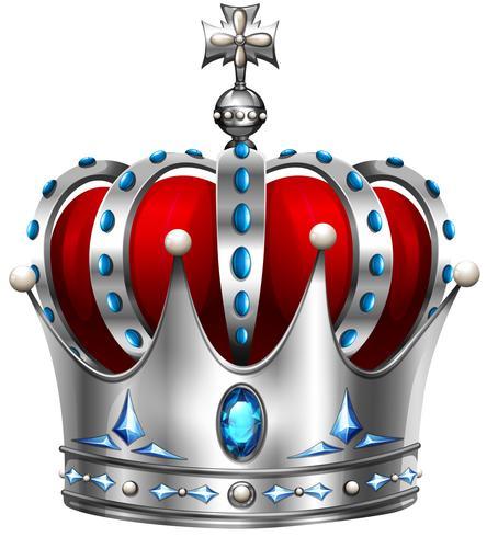Silberne Krone auf Weiß