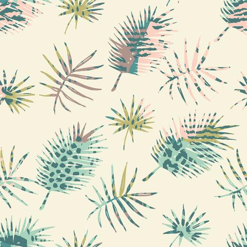 Trendy seamless exotic pattern with palm and animal prins vector