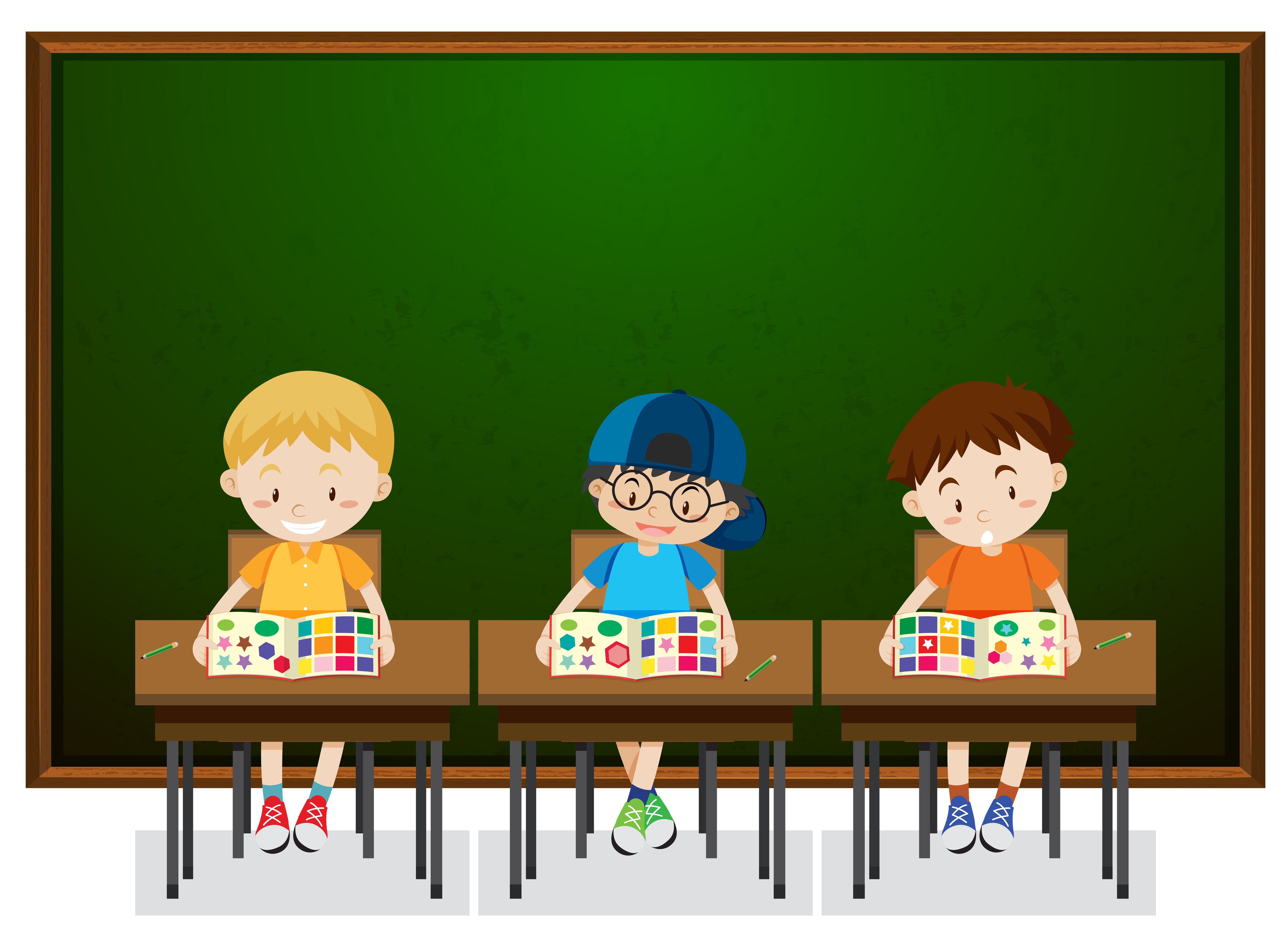 students studying in classroom download free vector art