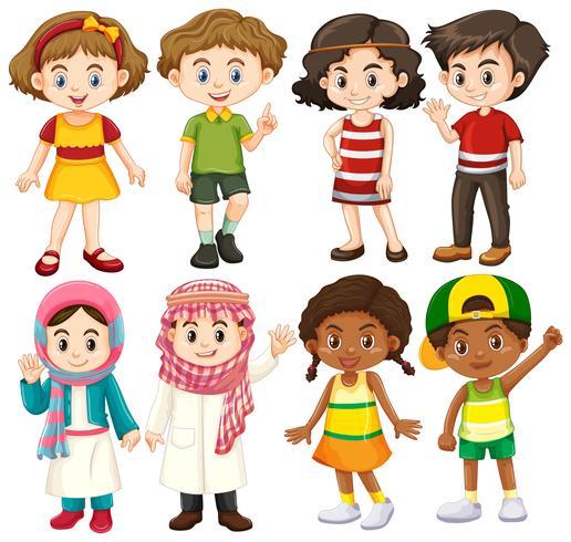 Gruppe von internationalem Kindercharakter