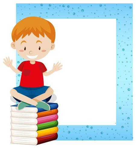 Un niño sentado en el marco del libro