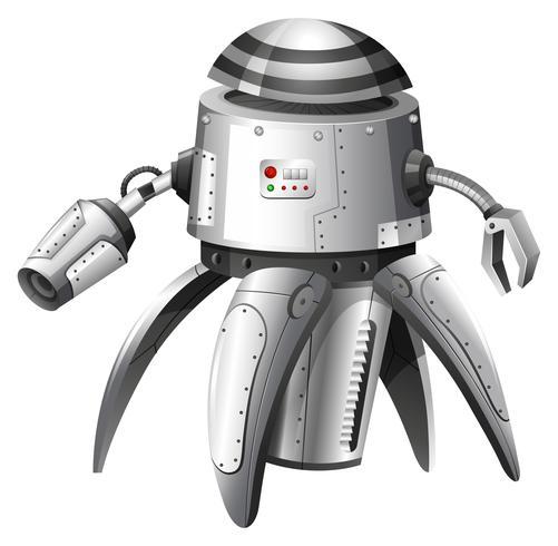 En illustration av en grå robot